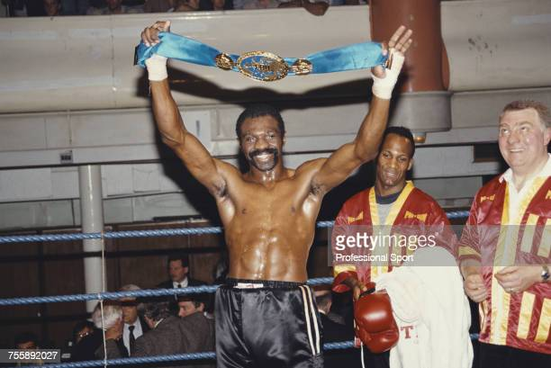 Jamaican born British boxer James Cook celebrates with his title belt after beating fellow British Boxer Mark Kaylor in the 6th round to win the EBU...