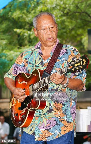 Jamaican Jazz musician Ernest Ranglin plays guitar as performs with the Antonio Hart Band at the BAM Rhythm Blues Festival at MetroTech Center...