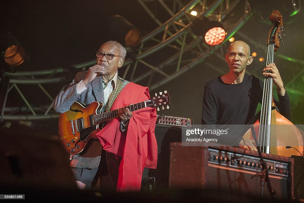 Jamaican musician and composer Ernest Ranglin (L) performs during the 15th International Mawazine Music festival at Bouregreg concert hall, in Rabat, Morocco on May 27, 2016.