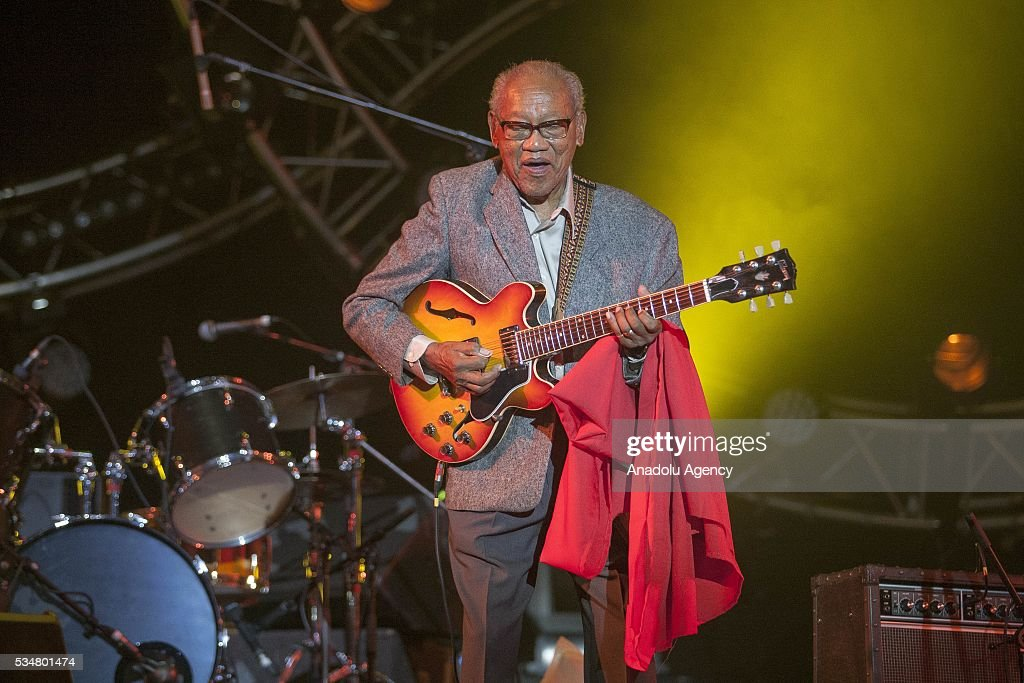 Jamaican musician and composer Ernest Ranglin performs during the 15th International Mawazine Music festival at Bouregreg concert hall, in Rabat, Morocco on May 27, 2016.
