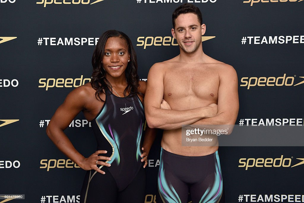 Jamaican Olympic swimmer Alia Atkinson (L) and Brazilian Olympic swimmer Thiago Pereira appear during the New York launch of Team Speedo and Speedo's Fastskin LZR Racer X on December 15, 2015 in New York City. #TeamSpeedo