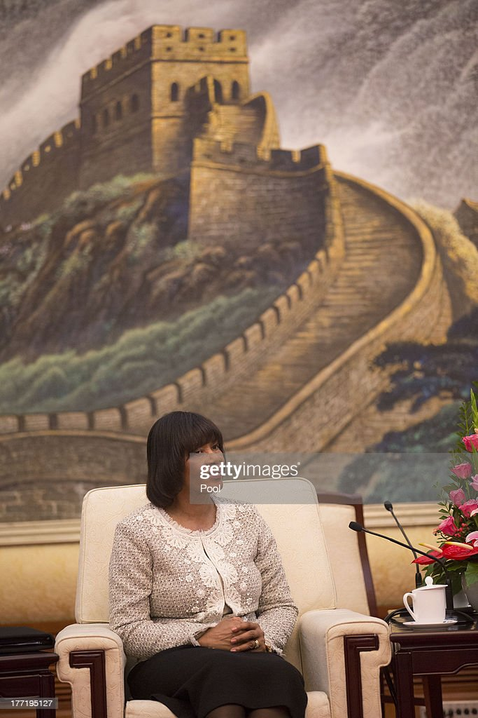 Jamaican Prime Minister Portia Simpson Miller attends talks with and Chinese President Xi Jinping at the Great Hall of the People, on August 22, 2013 in Beijing, China. Simpson Miller is on a five day visit to China to bolster economic and diplomatic ties.