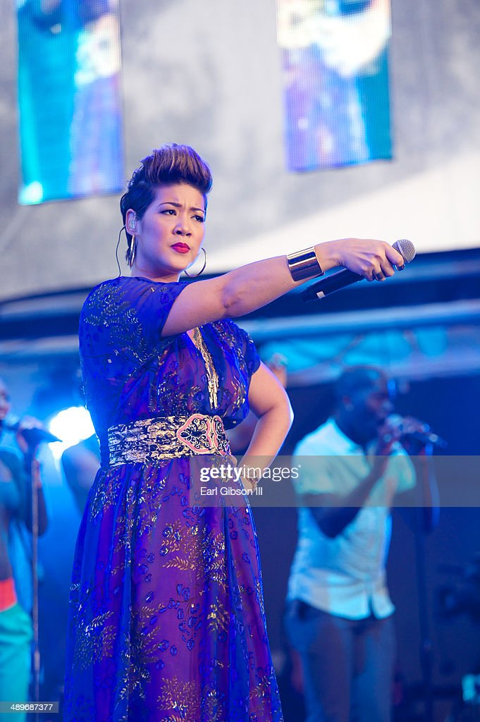 Jamaican recording artist and winner of season 5 of 'The Voice' Tessanne Chin performs at the 2014 Saint Lucia Jazz Arts Festival on May 11 2014 in...