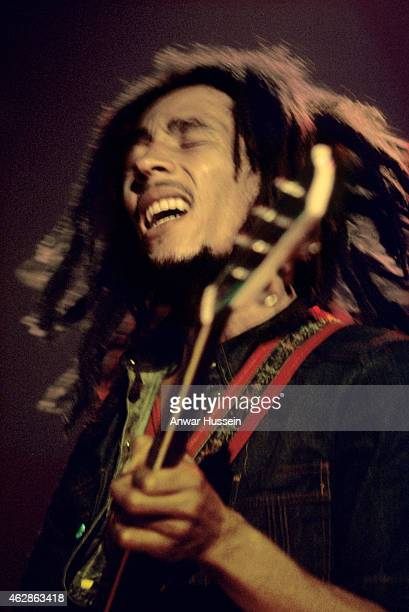 Jamaican reggae legend Bob Marley performs live on stage at the Hammersmith Odeon on June 01 1977 in London England