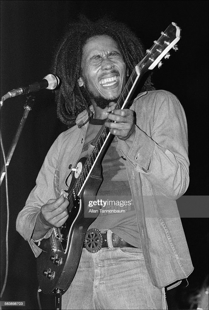 Jamaican Reggae musician Bob Marley performs onstage, New York, New York, April 30, 1976.