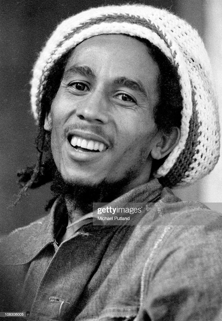 Jamaican reggae singer-songwriter and musician <a gi-track='captionPersonalityLinkClicked' href=/galleries/search?phrase=Bob+Marley+-+Musician&family=editorial&specificpeople=240470 ng-click='$event.stopPropagation()'>Bob Marley</a> (1945 - 1981) at the offices of Island Records, London, 24th July 1975.