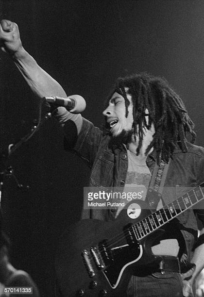 Jamaican reggae singersongwriter Bob Marley performing with Bob Marley And The Wailers at Hammersmith Odeon during the grpup's Rastaman Vibration...