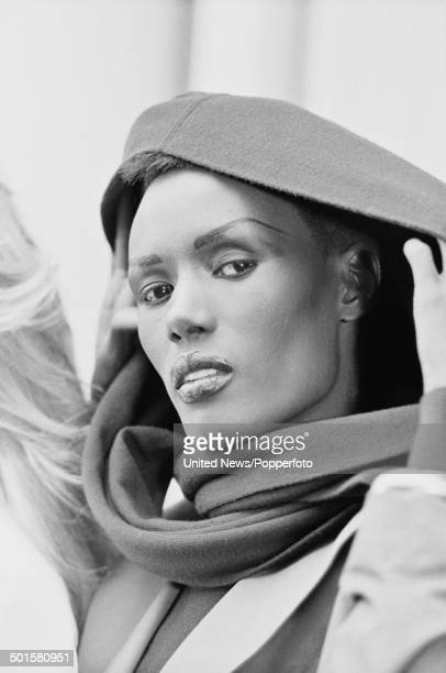 Jamaican singer and actress Grace Jones posed at a press call to promote the James Bond film 'A View to a Kill' in London on 14th June 1985
