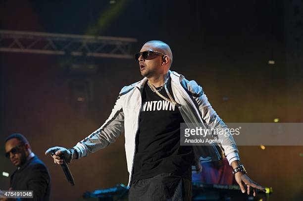 Jamaican singer and reggae star Sean Paul performs on the stage during the 14th edition of the Mawazine International music festival in Rabat Morocco...