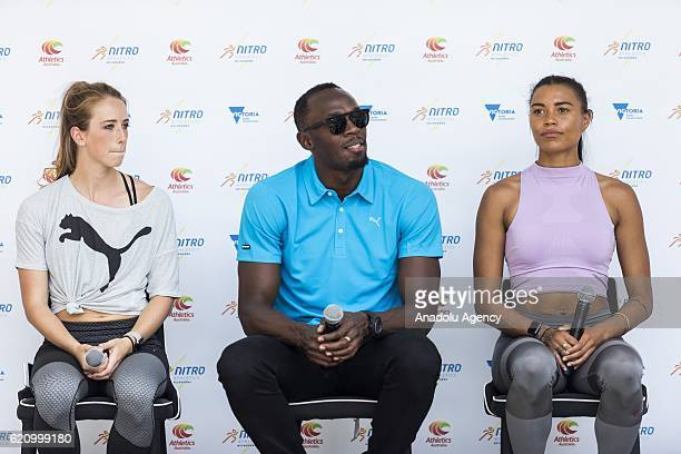 Jamaican Sprinter and olympic champion Usain Bolt Australian athletes Anneliese Rubie and Morgan Mitchell attend the launch of the Nitro Athletics...