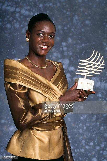 Jamaican sprinter Merlene Ottey with an award trophy at the International Athletic Foundation World Athletics Gala in Monte Carlo Monaco December 1994