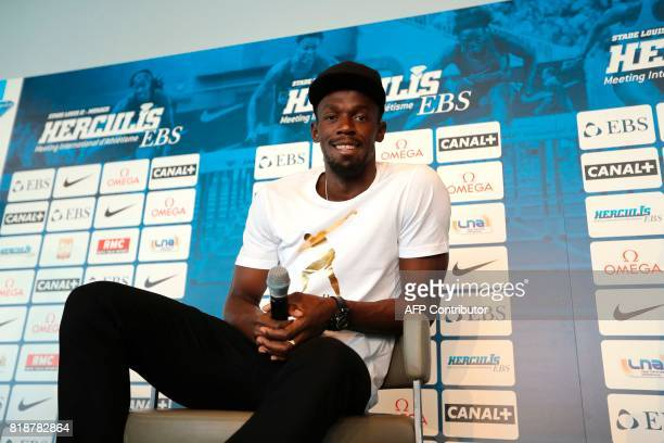 Jamaican sprinter Usain Bolt poses during a press conference on June 19 2017 in Monaco two days ahead of his race at the IAAF Diamond League meeting...