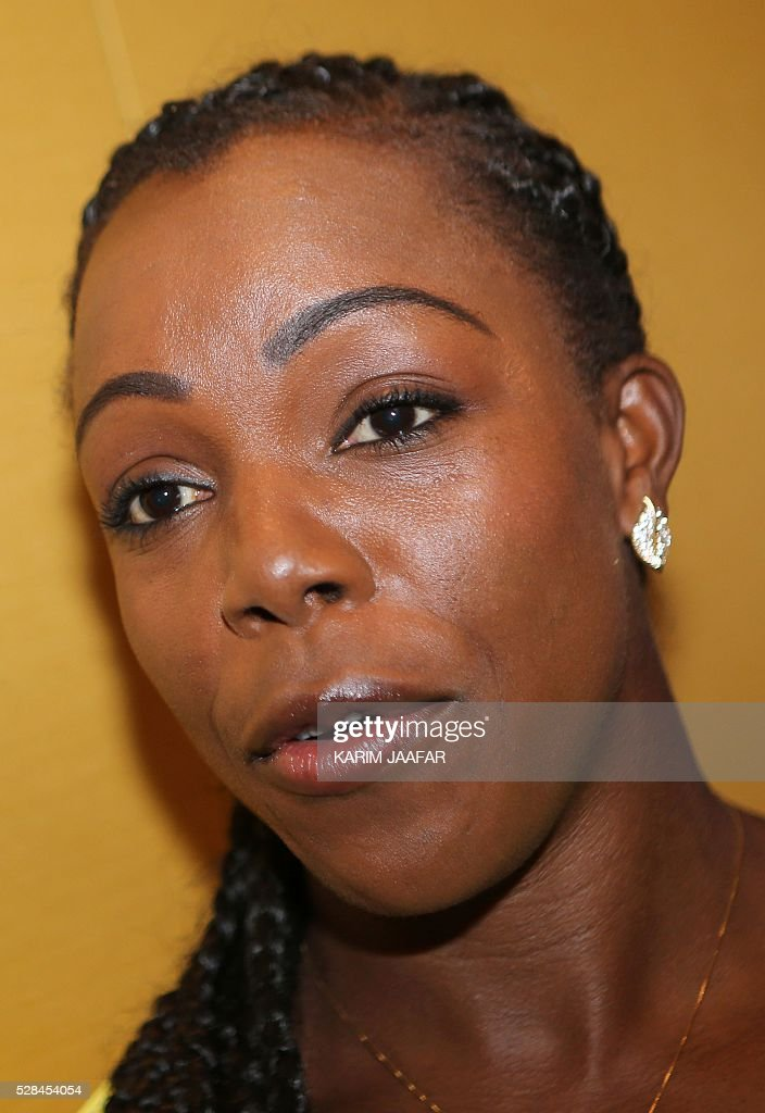 Jamaican athlete Veronica Campbell-Brown talks to the press in the Qatari capital Doha on May 5, 2016, on the eve of the Diamond League athletics meeting. / AFP / KARIM