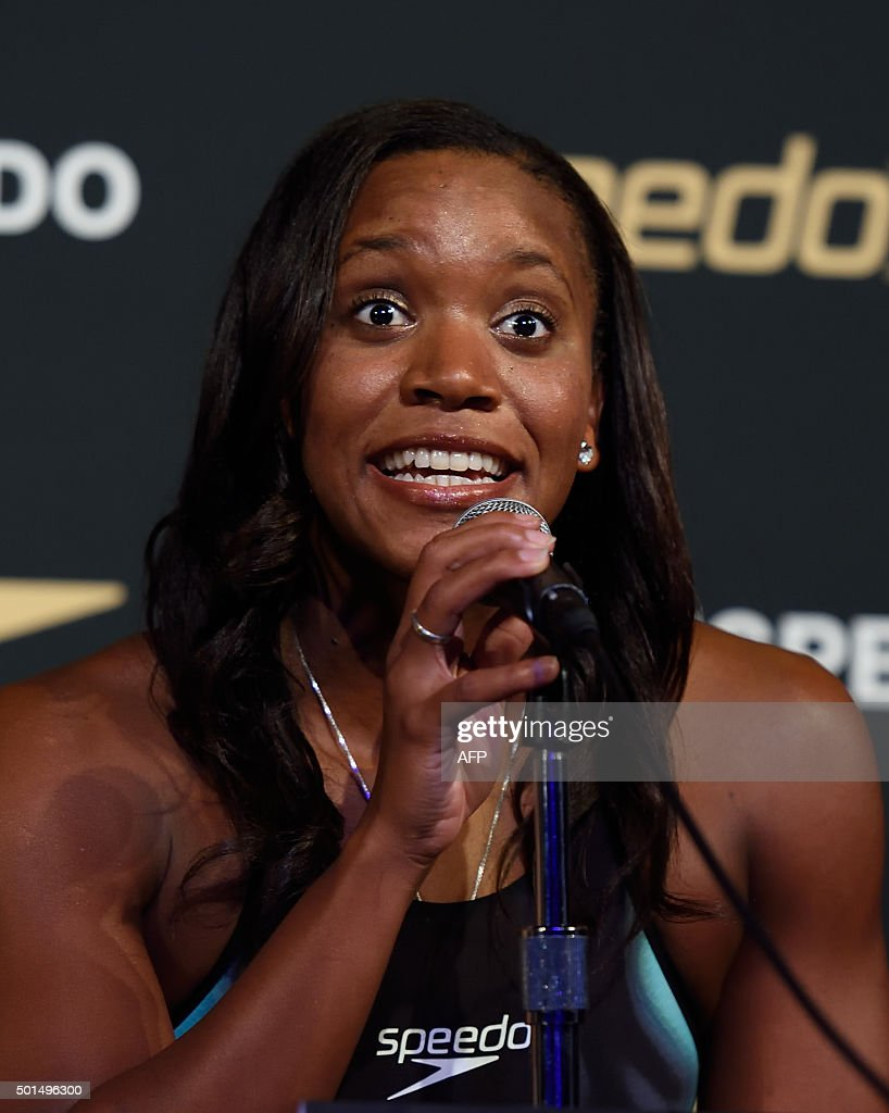 Jamaican swimmer <a gi-track='captionPersonalityLinkClicked' href=/galleries/search?phrase=Alia+Atkinson&family=editorial&specificpeople=881789 ng-click='$event.stopPropagation()'>Alia Atkinson</a> answers questions from reporters during the New York launch of Team Speedo and Speedo's Fastskin LZR Racer X on December 15, 2015 in New York.