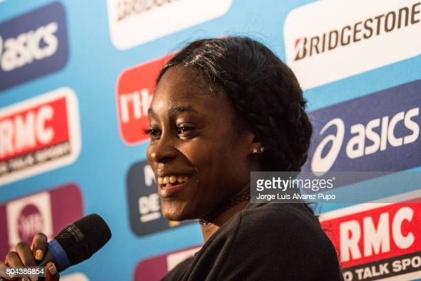 Jamaican track and field sprinter Elaine Thompson speaks during the Meeting of Paris press conference of the IAAF Diamond League 2017 at Mercure...