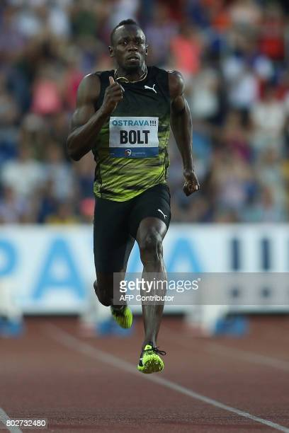 Jamaican Usain Bolt competes during the IAAF World Challenge Zlata Tretra athletics tournament in Ostrava Czech Republic on June 28 2017 / AFP PHOTO...