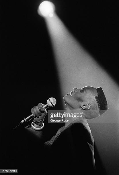 Jamaicanborn singer fashion model and actress Grace Jones performs onstage during a 1981 concert at the Savoy Club in New York New York The...