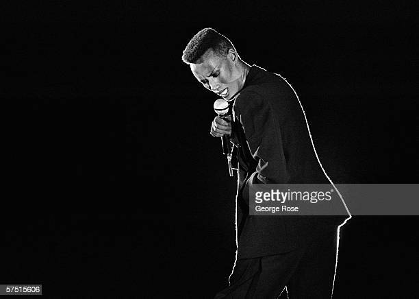 Jamaicanborn singer fashion model and actress Grace Jones performs onstage during a 1981 concert at Lion Country Safari in Irvine California The...