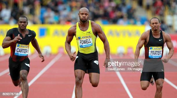 Jamaica's Asafa Powell wins the men's 100mtrs from countrymen Nesta Carter and Michael Frater during the Aviva Birmingham Grand Prix at the Alexander...