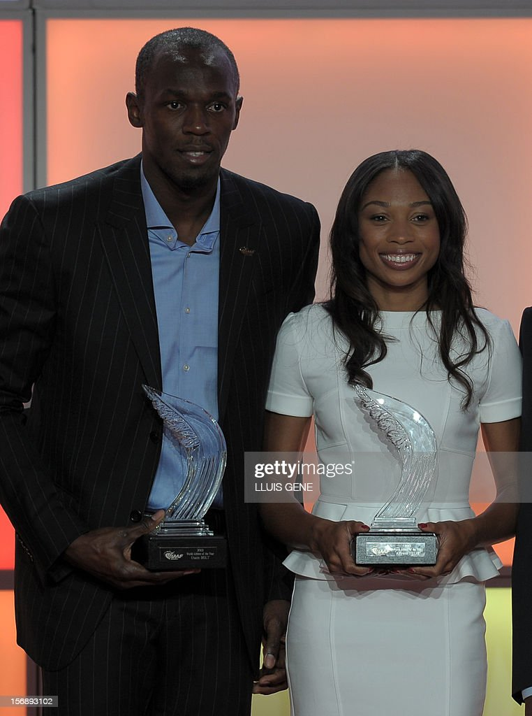 Jamaica's athlete Usain Bolt (L) and US sprinter Allyson Felix pose with their IAAF's Athlete of the Year trophies during the IAAF (International Association of Athletics Federations)'s Athlete of the Year Award marking its centenary on November 24, 2012 in Barcelona.