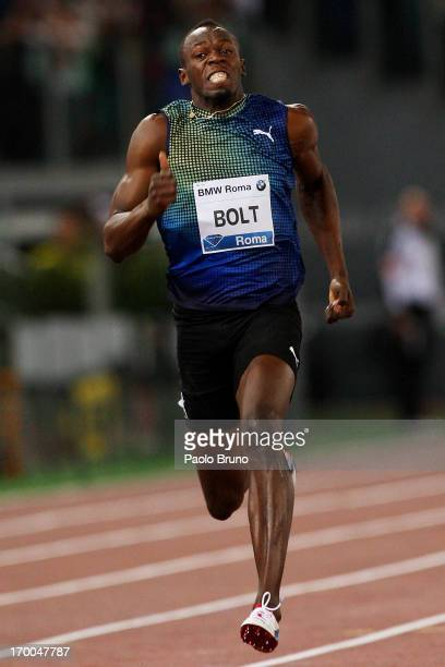 Jamaica's champion Usain Bolt competes in the 100m men's race at the IAAF Golden Gala at Stadio Olimpico on June 6 2013 in Rome Italy