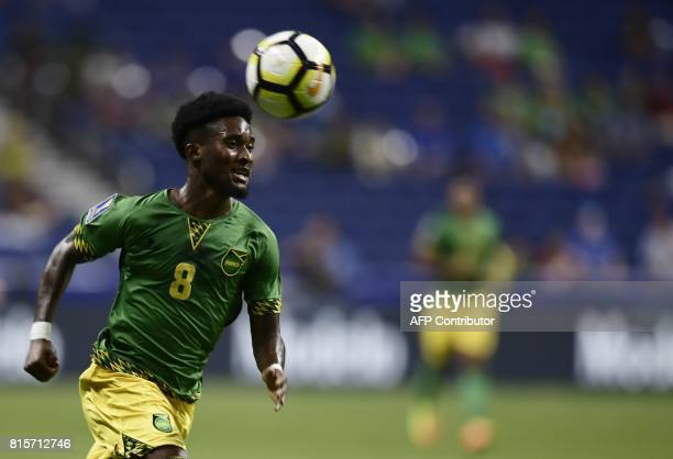 Jamaica's defender Oniel Fisher sprints down the field during the Jamaica vs El Salvador CONCACAF Gold Cup match at the Alamodome on July 16 2017 in...