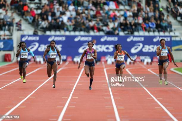 Jamaica's Elaine Thompson competes during the women's 100 meters within the International Association of Athletics Federations Diamond League in...