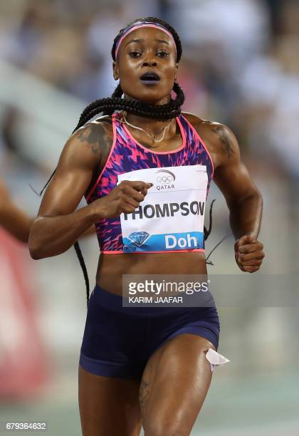 Jamaica's Elaine Thompson competes in the women's 200 metres during the Diamond League athletics competition at the Suhaim bin Hamad Stadium in Doha...