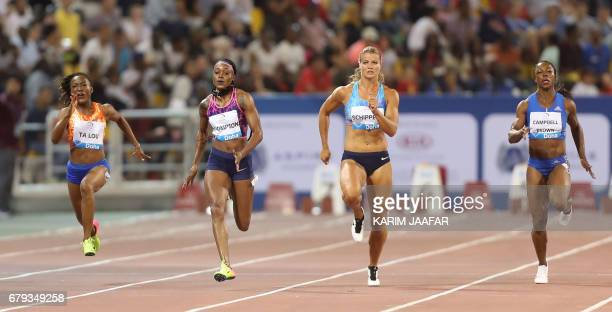 Jamaica's Elaine Thompson Netherlands Dafne Schippers Ivory Coast's MarieJosee Ta Lou and Jamaica's Veronica Campbell Brown compete in the women's...