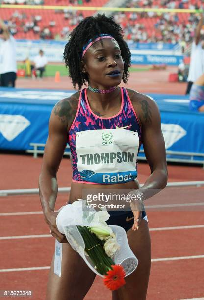 Jamaica's Elaine Thompson reacts after winning the 100m race at the IAAF Diamond League Mohammed VI Athletics meeting in Rabat on July 16 2017 / AFP...