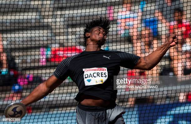 TOPSHOT Jamaica's Fedrick Dacres competes at the men's Discus Throw event during the IAAF Diamond League athletics competition in Stockholm Sweden on...