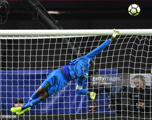 Jamaica's goalkeeper Andre Blake stops the ball from going into the net during their 2017 CONCACAF Gold Cup match against Canada at the University of...