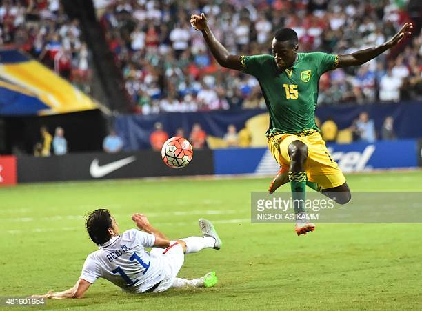 Jamaica's JeVaughn Watson vies with Alejandro Bedoya of the US during a CONCACAF Gold Cup semifinal football match in Atlanta on July 22 2015 AFP...