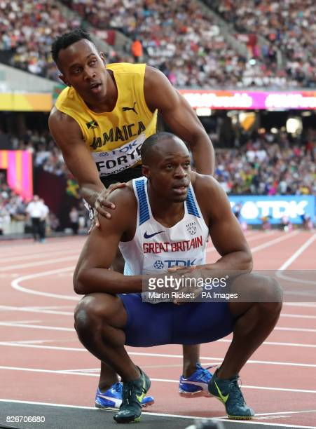 Jamaica's Julian Forte and Great Britain's Reece Prescod react after the Mens 100m semifinal heat one during day two of the 2017 IAAF World...