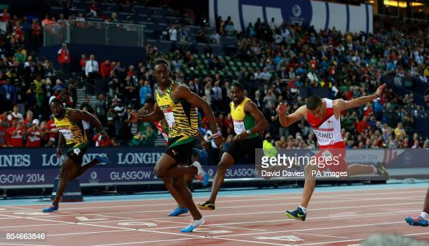 Jamaica's Kemar BaileyCole wins the mens 100m ahead of England's Adam Gemili at Hampden Park during the 2014 Commonwealth Games in Glasgow