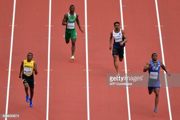 Jamaica's Nathon Allen Nigeria's Samson Oghenewegba Nathaniel India's Muhammed Anas Yahiya and US athlete Gil Roberts compete in the heats of the...