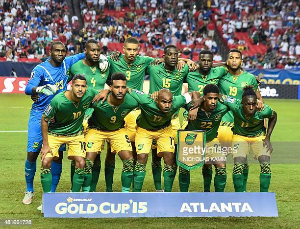 Jamaica's national team poses before a CONCACAF Gold Cup semifinal football match against the US in Atlanta on July 22 2015 AFP PHOTO/NICHOLAS KAMM