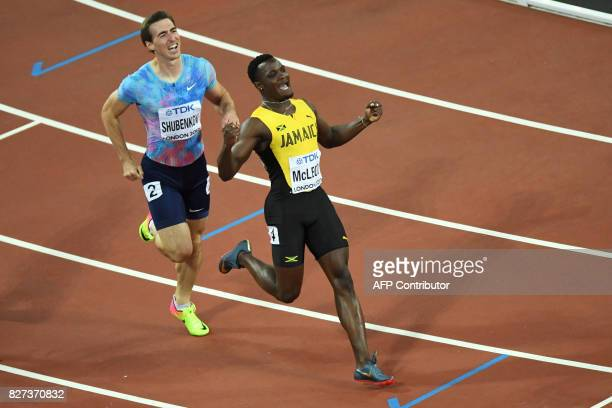 Jamaica's Omar Mcleod celebrates winning the final of the men's 110m hurdles athletics event ahead of Authorised Neutral Athlete Sergey Shubenkov at...