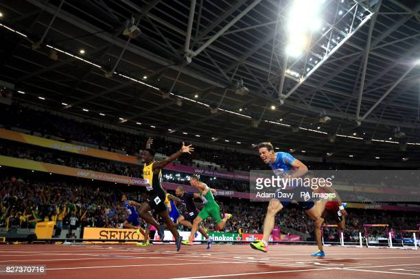 Jamaica's Omar Mcleod wins the Men's 110m Hurdles final ahead of Authorised Neutral Athlete Sergey Shubenkov during day four of the 2017 IAAF World...