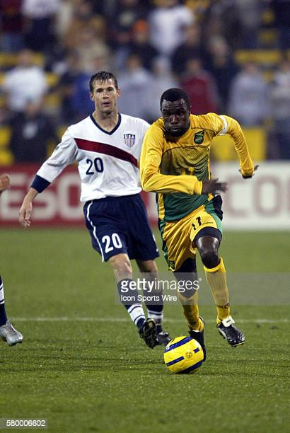 Jamaica's Theodore Whitmore pulls away from Brian McBride The United States tied Jamaica 11 at Crew Stadium in Columbus Ohio in the final game of the...