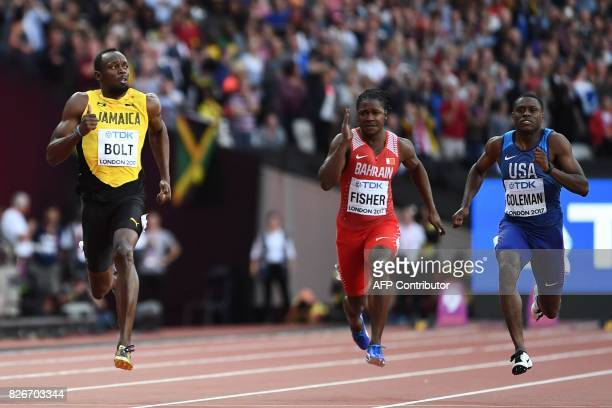 Jamaica's Usain Bolt Bahrain's Andrew Fisher and US athlete Christian Coleman compete in the semifinals of the men's 100m athletics event at the 2017...