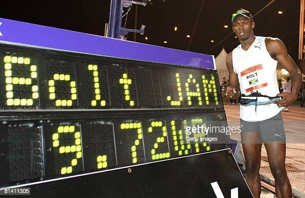 Jamaica's Usain Bolt celebrates after winning the Men's 100m at the Reebok Grand Prix at Icahn Stadium at Randalls Island Park on May 31 2008 in New...