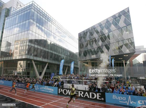 Jamaica's Usain Bolt competes in the 150m Event on a specially constructed track during the BUPA Great Manchester Run and Great City Games in...