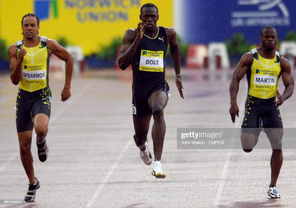 Jamaica's Usain Bolt (centre) competing against USA's Wallace Spearmon (left) and Rodney Martin during the Men's 200 Metres.