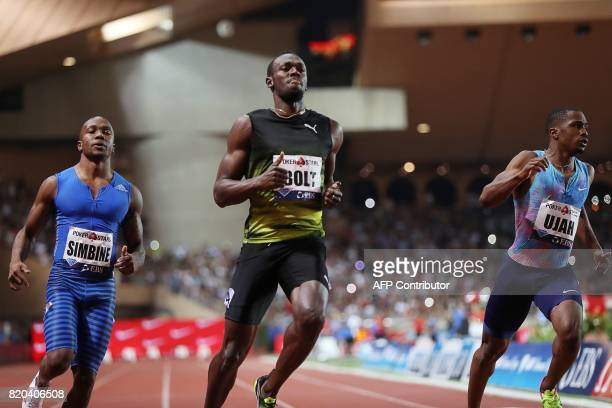 Jamaica's Usain Bolt crosses the finish line to win the men's 100m event at the IAAF Diamond League athletics meeting in Monaco on July 21 2017 / AFP...