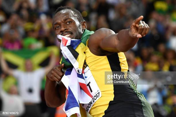 TOPSHOT Jamaica's Usain Bolt poses after taking third in the final of the men's 100m athletics event at the 2017 IAAF World Championships at the...