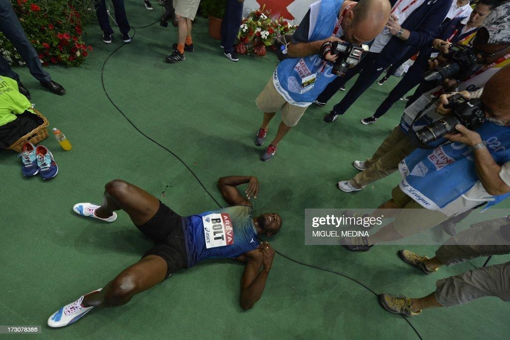 Jamaica's Usain Bolt prepares for the men's 200m at the IAAF Diamond League athletics meeting in Saint-Denis, near Paris, on July 6, 2013.