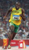 Jamaica's Usain Bolt runs in the men's 200m final at the National Stadium as part of the 2008 Beijing Olympic Games on August 20 2008 Bolt broke the...