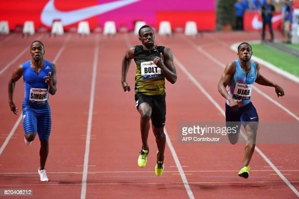Jamaica's Usain Bolt runs to win the men's 100m event at the IAAF Diamond League athletics meeting in Monaco on July 21 2017 / AFP PHOTO / Yann...