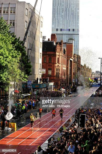 Jamaica's Usain Bolt the World and Olympic Champion races in a special 150m Event on a specially constructed track during the BUPA Great Manchester...